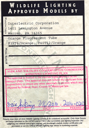 Florida Wildlife Lighting Certificate for Orange Lamps for Interlectric