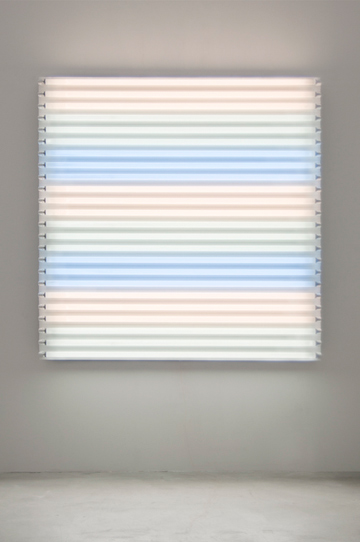 "HEATHER CARSON light/LINES: Untitled #2, 2011 Fluorescent lights, aluminum pipe, Speed-Rail, conduit hangers 72"" x 72"" x 7 3/4"""