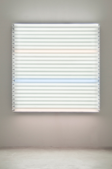"HEATHER CARSON light/LINES: Untitled #3, 2011 Fluorescent lights, aluminum pipe, Speed-Rail, conduit hangers 72"" x 72"" x 7 3/4"""